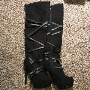 Thigh high heeled suede boots